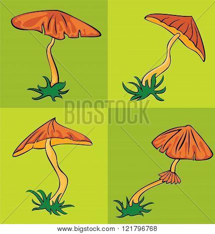 eatable cartoon garden amanita mushroom vector illustration