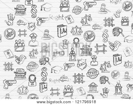 Grunge background: White Brick wall texture with Painted Hand Drawn Law Icons