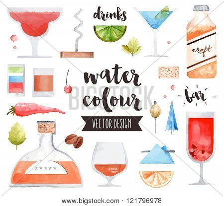 Alcohol Drinks Watercolor Vector Objects
