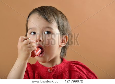 Girl Breathing Asthmatic Medicine