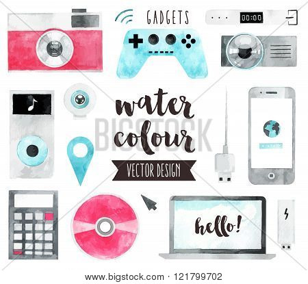 Media Devices Watercolor Vector Objects