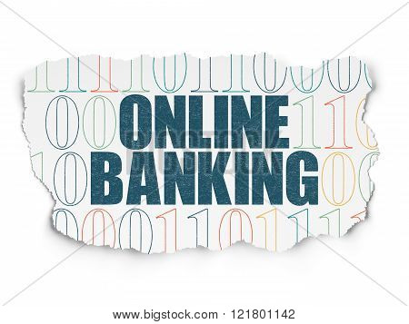 Finance concept: Online Banking on Torn Paper background