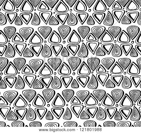 Black and white handmade doodle seamless pattern. Vector backgro