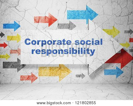 Finance concept: arrow with Corporate Social Responsibility on grunge wall background