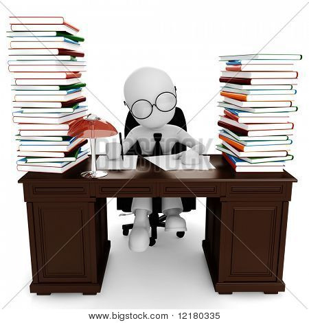 3d man sitting at his desk , working