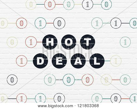 Business concept: Hot Deal on wall background