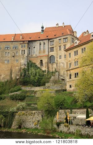Cesky Krumlov, Czech Republic - May 01, 2013: View To Historic Castle Of Cesky Krumlov