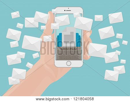 Many envelopes messages from smartphone screen in hand. Email marketing concept. Holding phone.