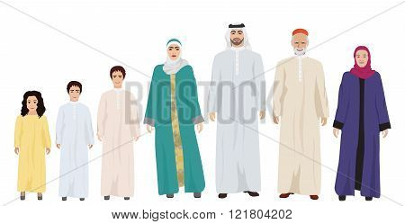 Big and Happy arab Family vector illustration.