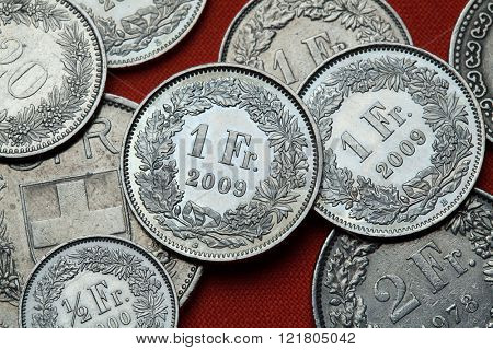 Coins of Switzerland. Swiss one franc coins.