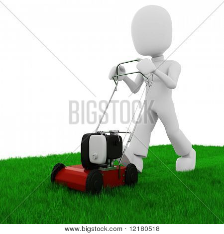 3d man cutting the grass with a push  lawn mower