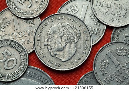 Coins of Germany. German statesman Theodor Heuss depicted in the German two Deutsche Mark coin (1969).