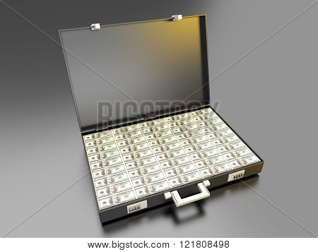 A briefcase full of Cash. 3d rendered illustration.