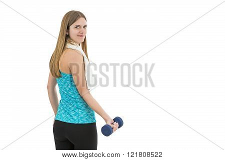 Young Fitness Woman Lifting Dumbbell