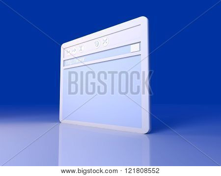 Image of a browser window. 3d rendered illustration.