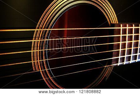 Close up of metal Guitar strings abstract