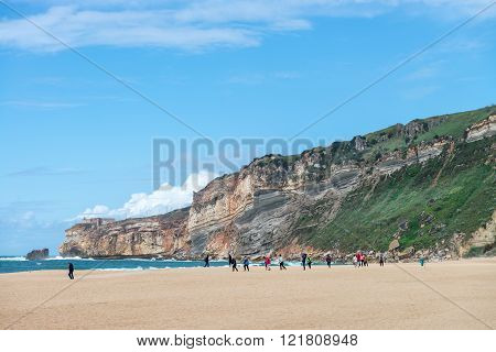 Main Beach In Nazare, A Surfing Paradise Town