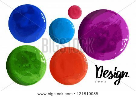 Vector Set Of Colorful Watercolor Paint Circles