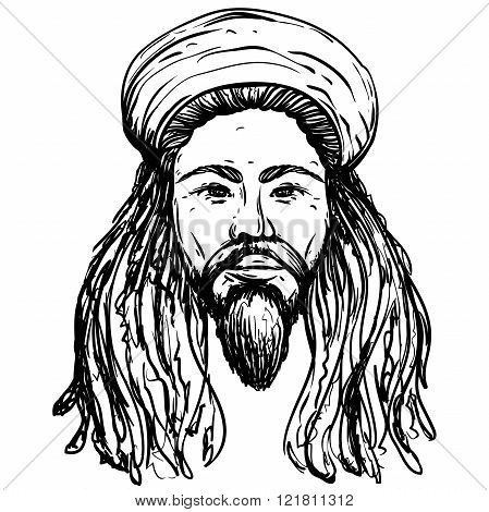 Portrait of rastaman. Jamaica theme. Reggae concept design. Tattoo art. Retro banner, card, t-shirt, bag, print, poster.Highly detailed vintage black and white hand drawn vector illustration