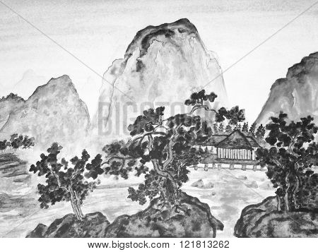 Hand drawn picture in traditions of Chinese painting watercolour in black and white color. Landscape - mountains trees and houses.