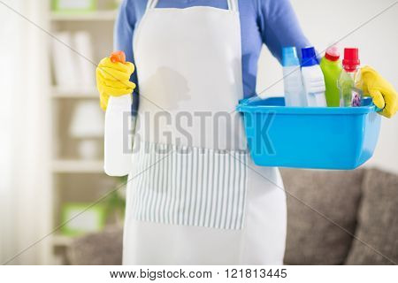 Close up of housewife holding washbowl with chemical products and sprayer