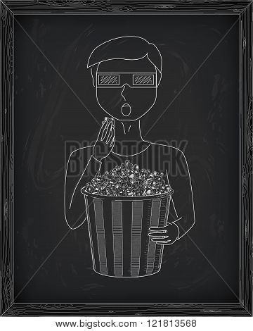 Man  In 3D Glasses Eating Delicious Popcorn From A Big  Striped Carton Box