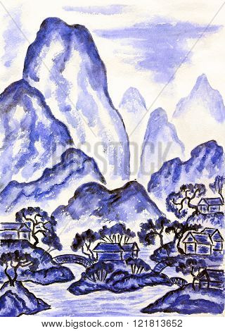 Hand painted picture watercolours in traditions of old Chinese art mixed with individual style landscape with mountains in blue colour.