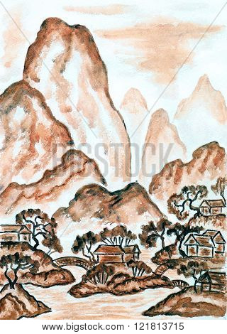 Hand painted picture watercolours in traditions of old Chinese art mixed with individual style landscape with mountains in brown colour.
