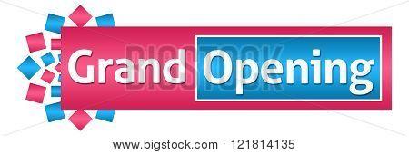 Grand Opening Pink Blue Circular Horizontal
