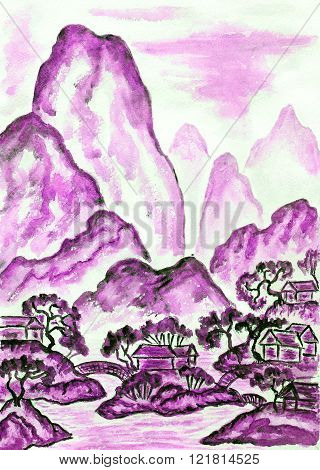 Hand painted picture watercolours in traditions of old Chinese art mixed with individual style landscape with mountains in violet colour.