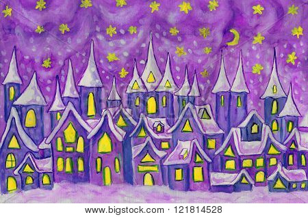 Hand painted illustration watercolours - Dreamstown in blue and purple colours. Can be used as illustration for fairy tales books for children Christmas pictures.