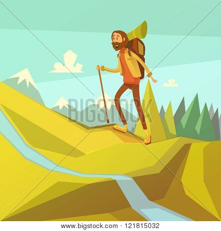 Hiking And Mountaineering Illustration