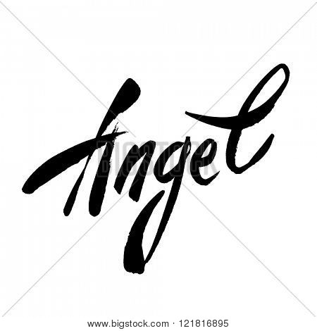 Angel - handwritten lettering. Vector text Angel - black brush lettering on a white background. Vector illustration.