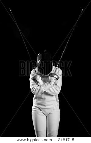 fencing player isolated on black background