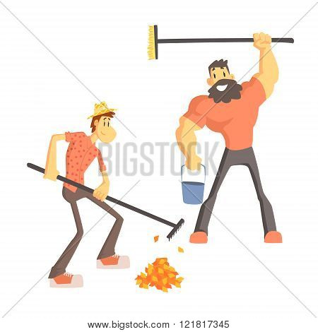 Two Man Picking Up Leaves
