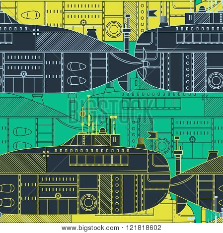 Seamless pattern with submarine. Retro colorful hand drawn vector illustration in line art style