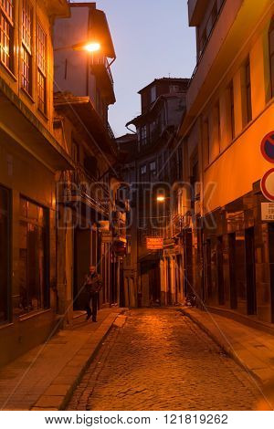 View Of Facades, Alleyway And Traditional Houses In  Porto