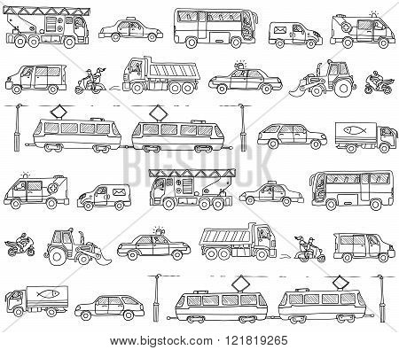 Vector seamless pattern with cars. Traffic. Doodle set.