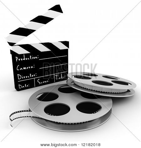 3d movie objects , clipper and reel roll