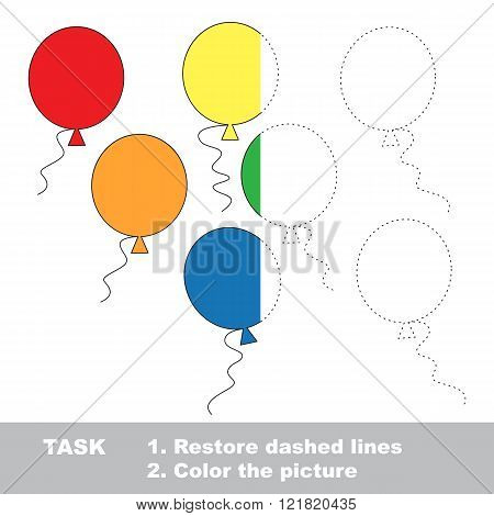 Balloons in vector colorful to be traced. Restore dashed line and color the picture. Worksheet to be colored.