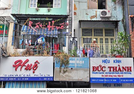 HO CHI MINH VIETNAM - MARCH 8: Balconys in the street of Ho Chi Minh city on March 8 2015. Ho Chi Minh is the secord largest city of Vietnam.