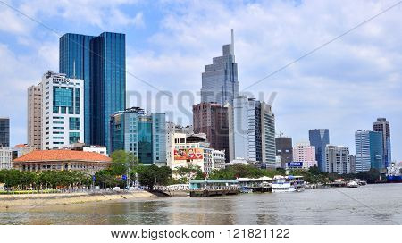 HO CHI MINH VIETNAM - MARCH 8: View of the riverside of Ho Chi Minh city on March 8 2015. Ho Chi Minh is the secord largest city of Vietnam.