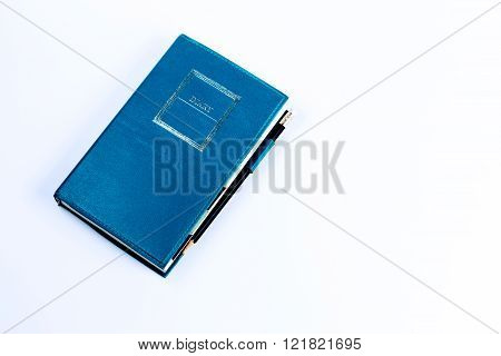 Blue Green Leather Diary Notebook With Pencil Isolated On White Background
