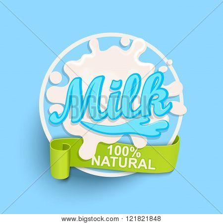 Milk label splash. Natural.