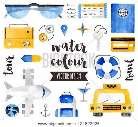 Travel Elements Watercolor Vector Objects