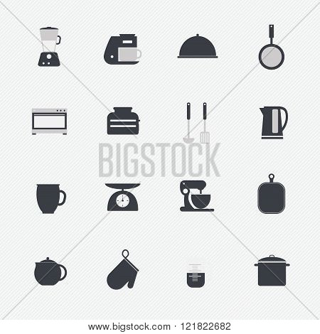 Kitchen Utensils And Cookware Icons Set, Cooking Tools And Kitchenware Equipment, Serve Meals And Fo