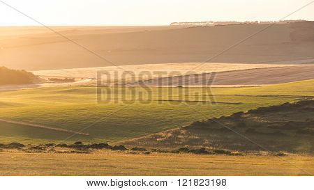 Panoramic View Of English Countryside At Sunset