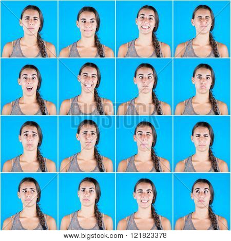 Beautiful Woman Multiple Portraits On Blue Background