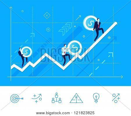 Vector illustration of teamwork. Team growing arrow with money
