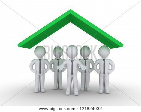 Businessmen as a team are protected by roof symbol